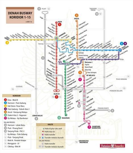 Peta Busway Jakarta (koridor 1-15)